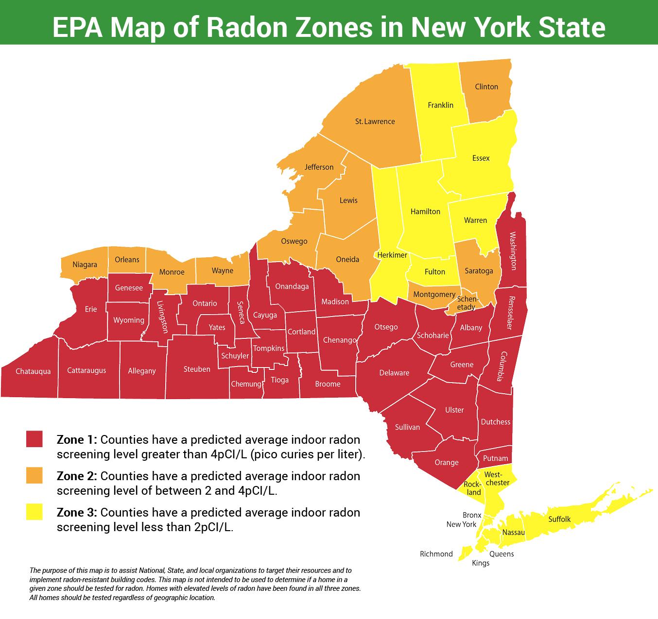 EPA Map of Radon Zones in NYS Radon Testing Mitigation